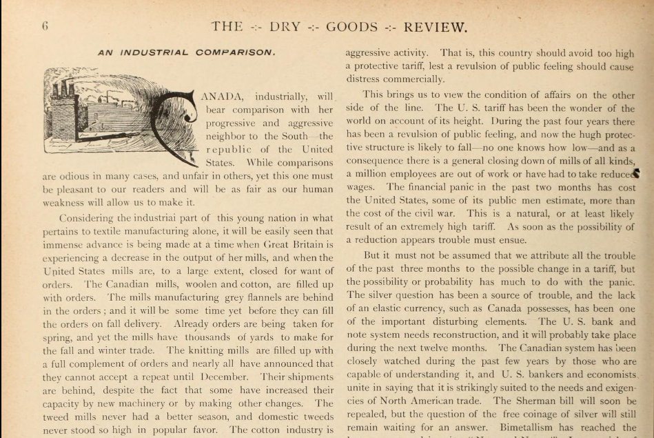 AMAZING CANADIAN DRY GOODS REVIEW 1893 08 PAGE 6 DETAIL 1 CANADIAN PROBLEM AMAZING