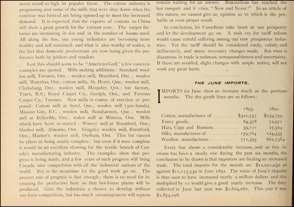 AMAZING CANADIAN DRY GOODS REVIEW 1893 08 PAGE 6 DETAIL 2 CANADIAN PROBLEM AMAZING